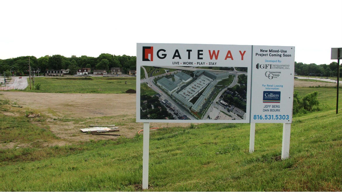 The Mission Gateway site where the food hall and apartments would be built.