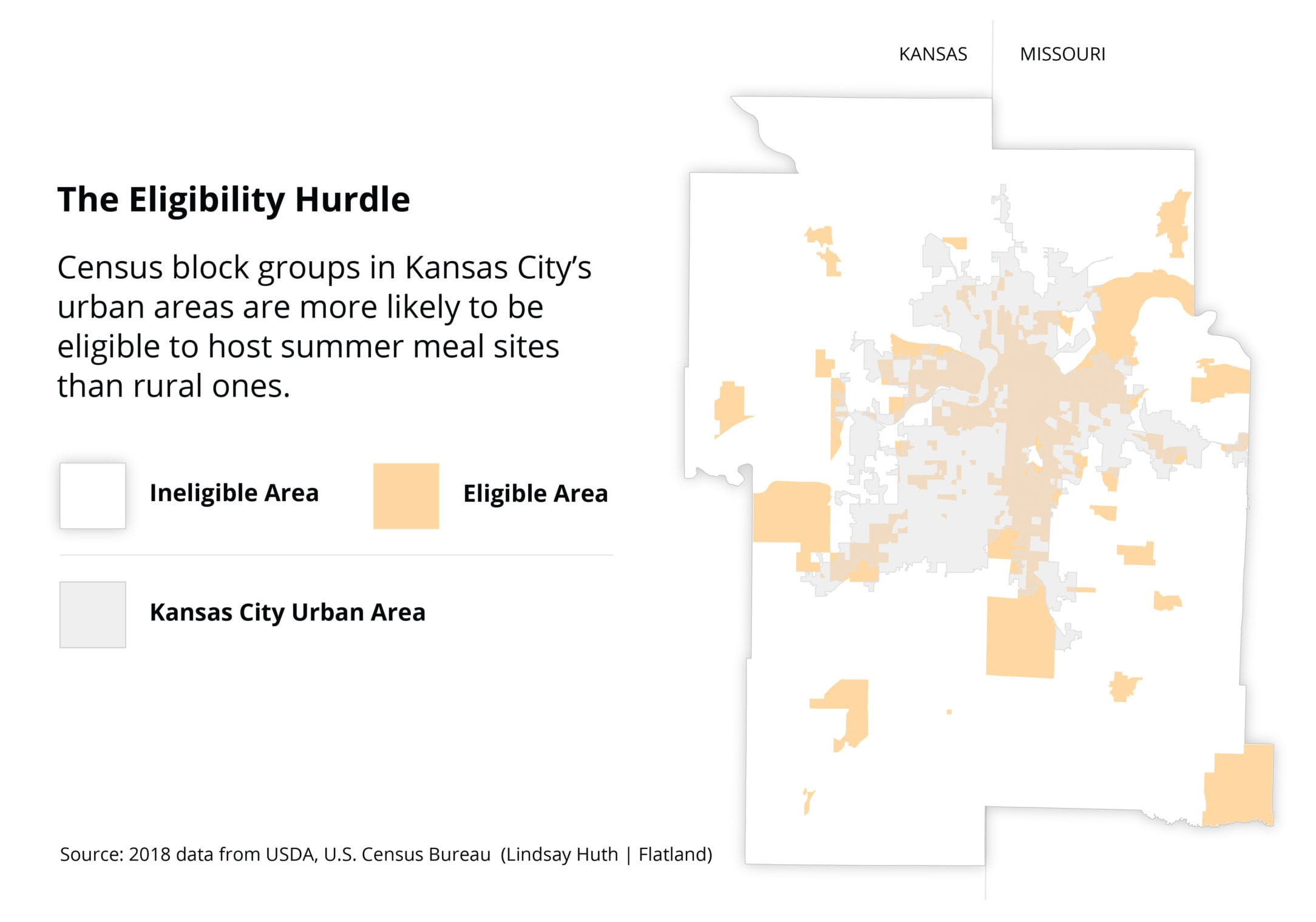 Map of eligible districts in KC metro area for summer food sites