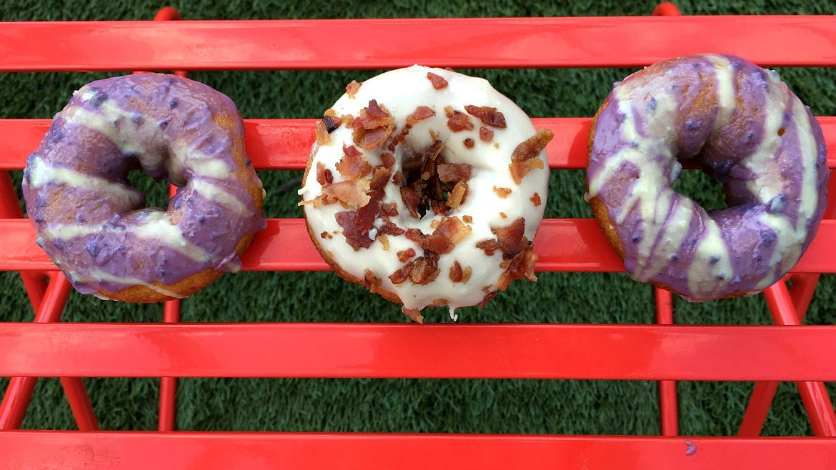 Duck Donuts has blueberry with a lemon glaze and maple bacon donuts