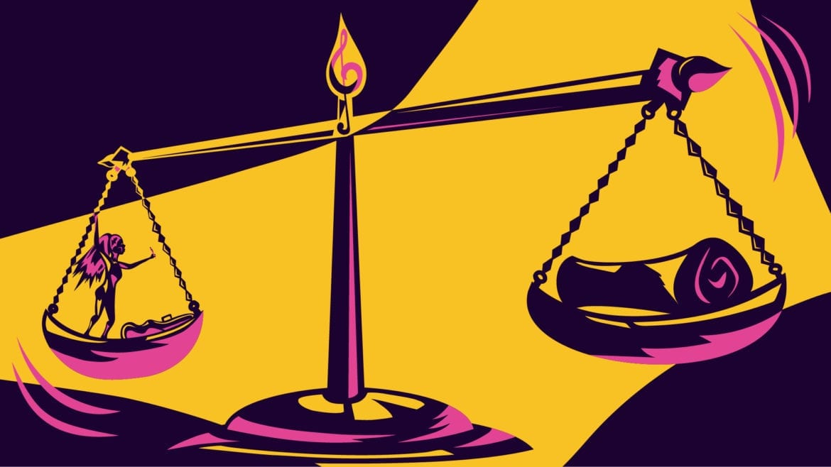 a female rocker on the scales of justice