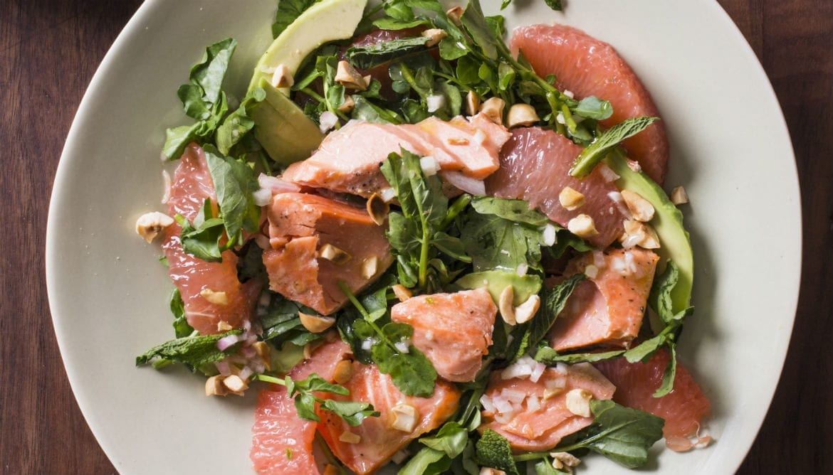 This recipe for salmon, avocado, grapefruit and watercress salad
