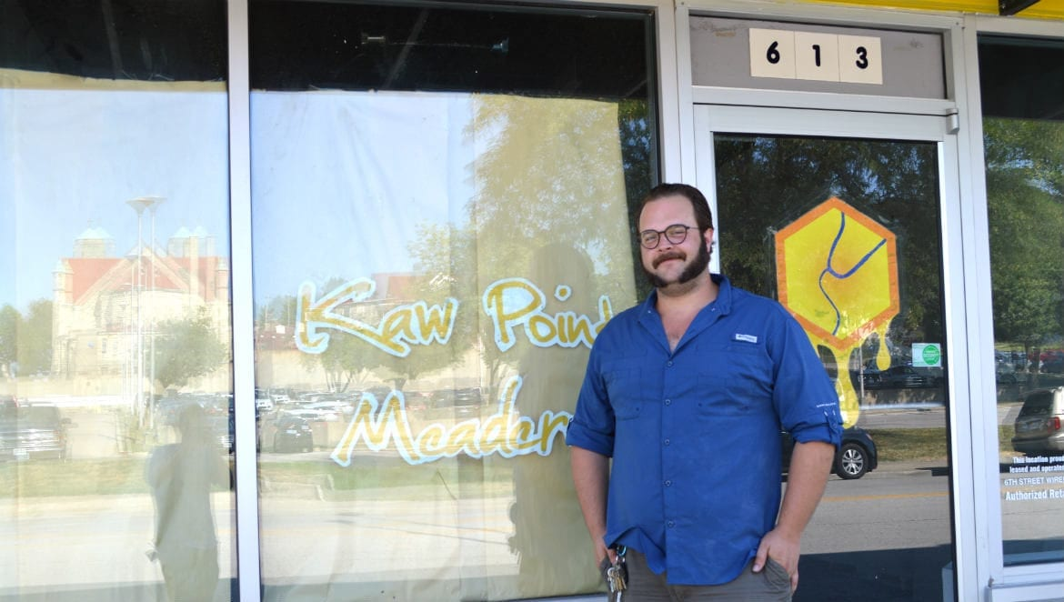 Daniel Bauer, in front of the future home of Kaw Point Meadery, on 6th Street. (Jonathan Bender   Flatland)