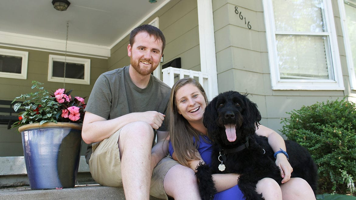 Ben Evans, his fiancee and their dog