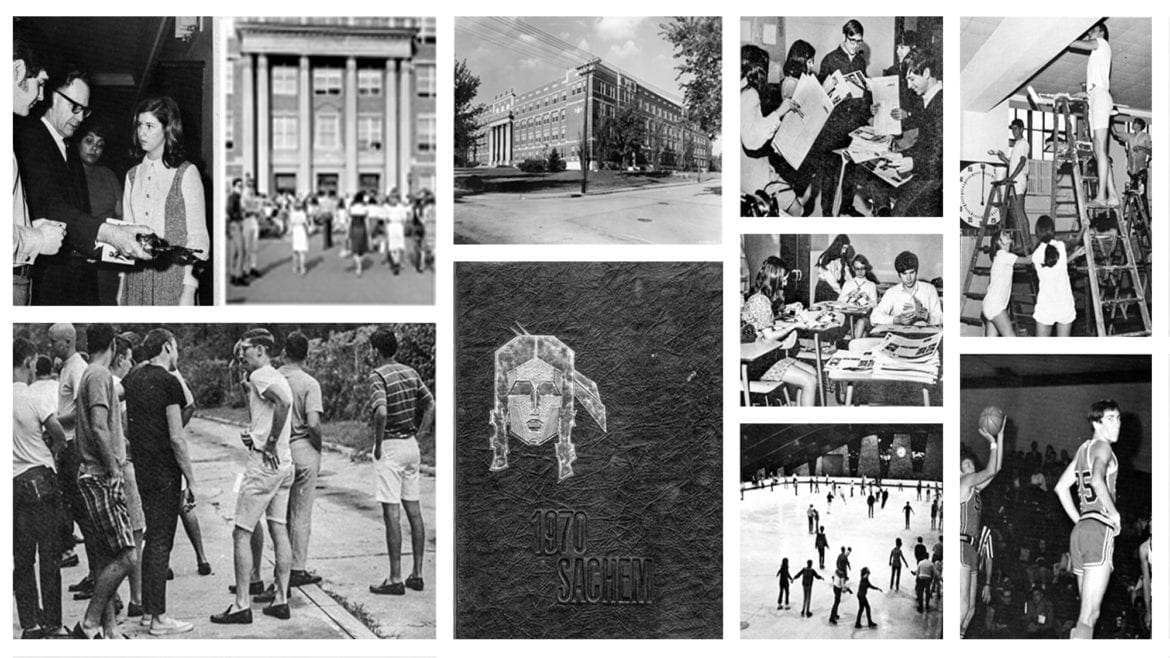 A collage of black and white photos from Southwest High School, circa 1970.