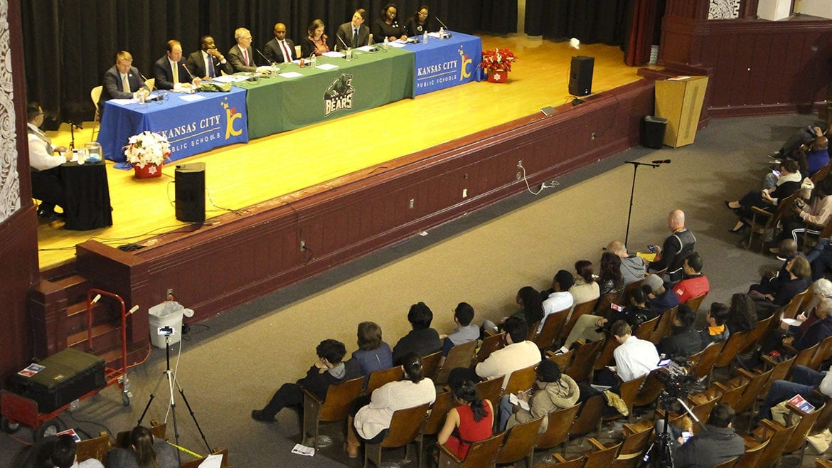 Kansas City mayoral candidates in the auditorium at East High School