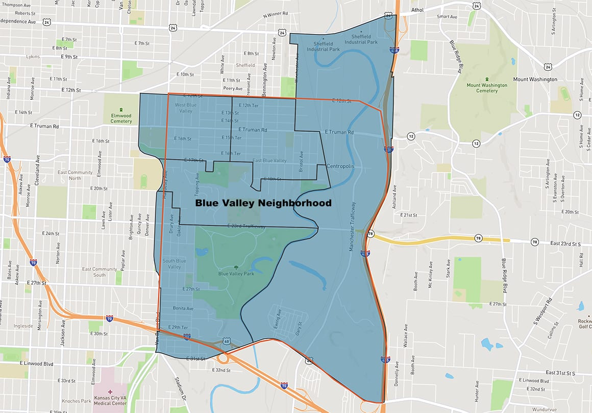 map of the blue valley neighborhood