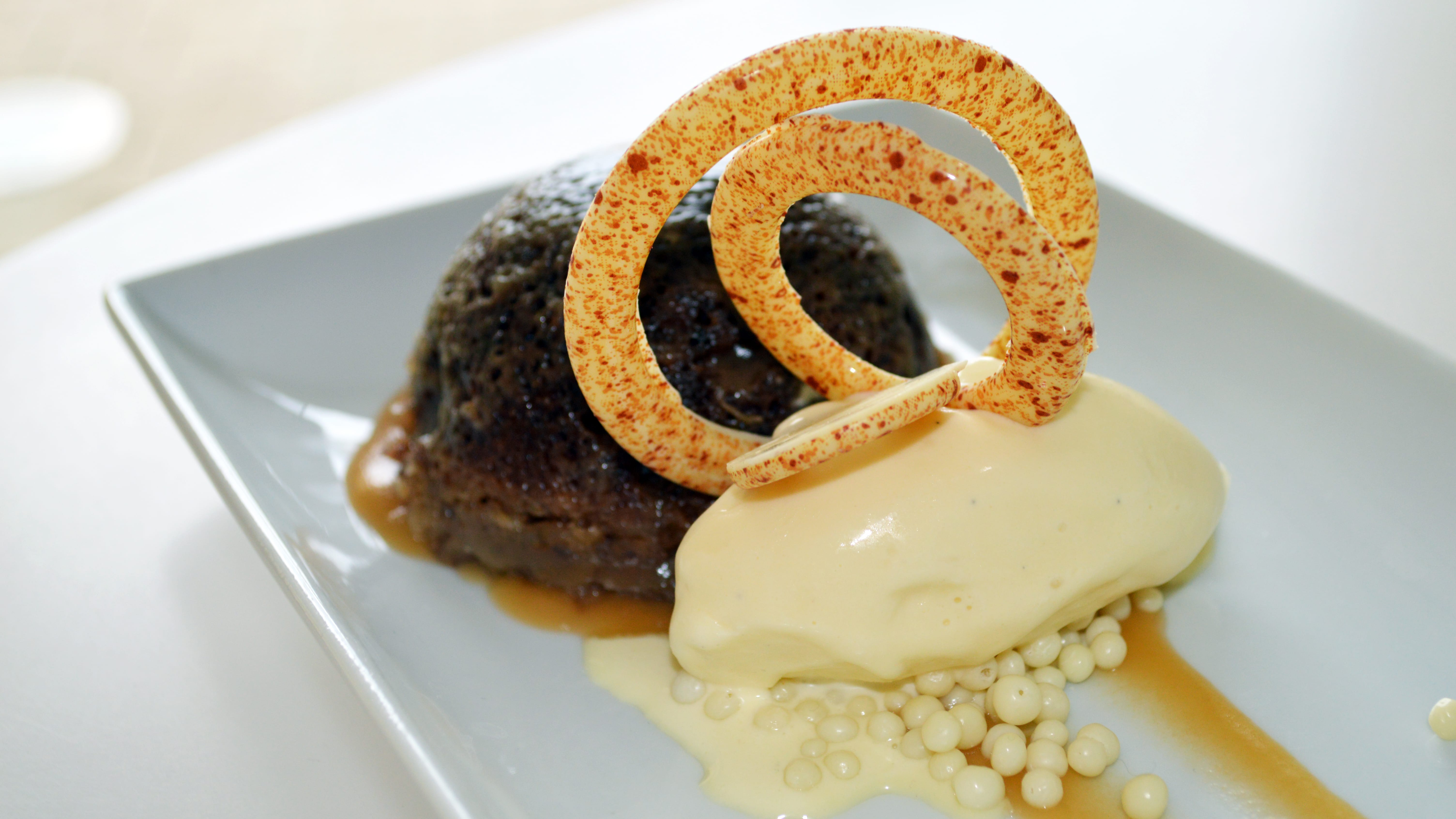 sticky toffee pudding with vanilla bean ice cream