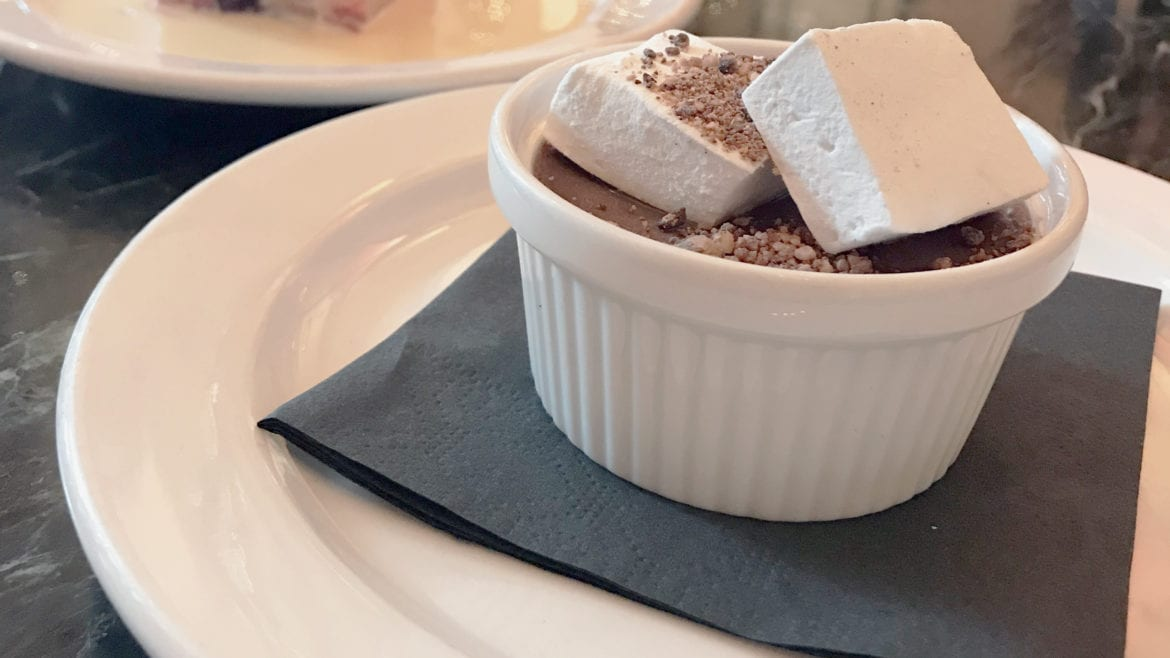 chocolate pots de creme with house made vanilla bean marshmallows