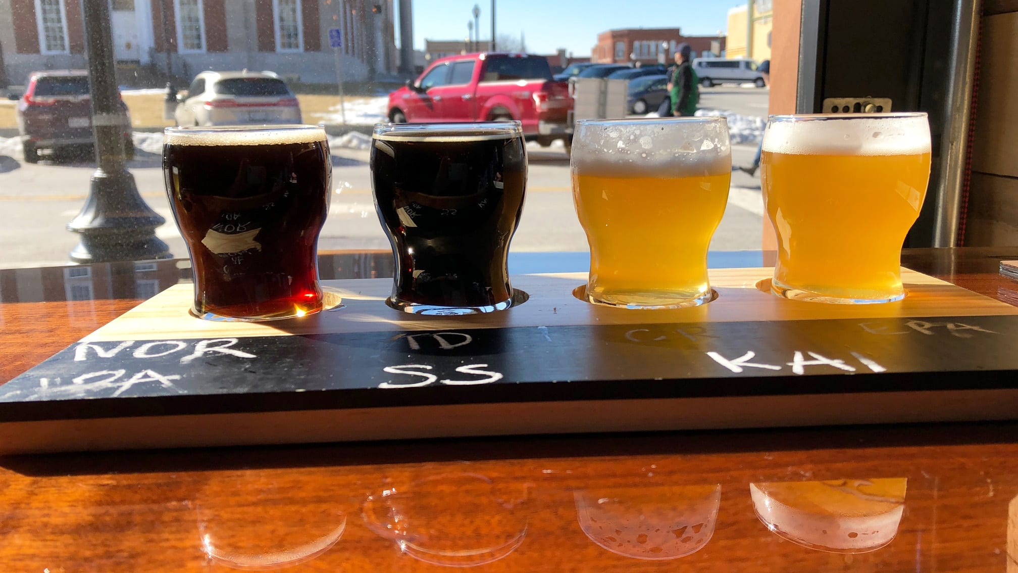 A flight of 3 Trails Brewing Co.'s