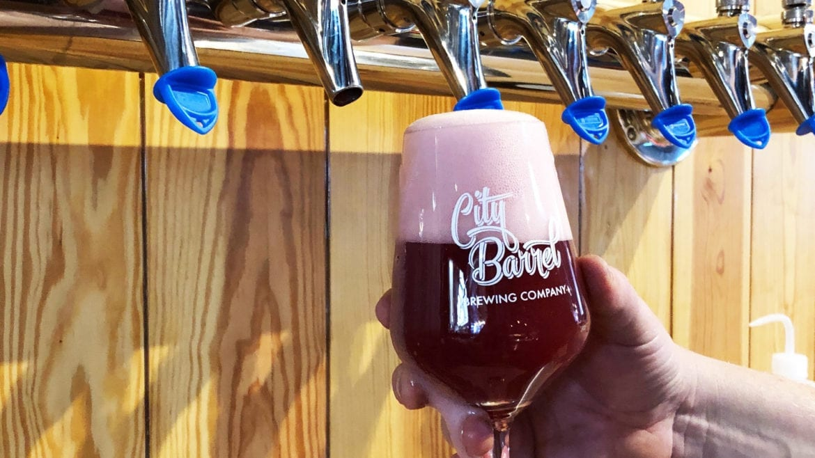 Classy, a semi-sweet beer, gets its pink color from raspberries, blueberries and cranberries.