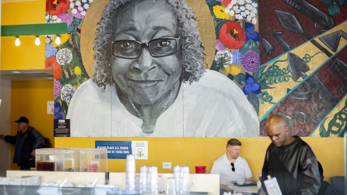 A mural of Thelma Altschul