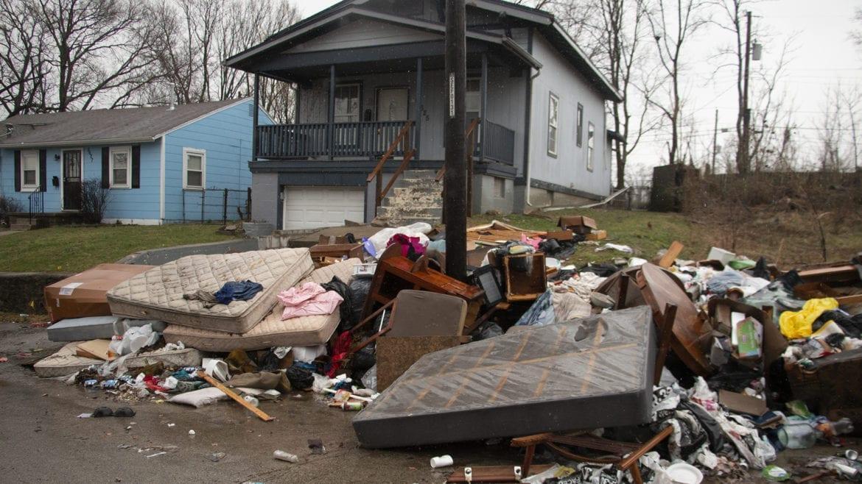 illegal dumping site in 5600 block of Paloma Avenue in Kansas City, Missouri