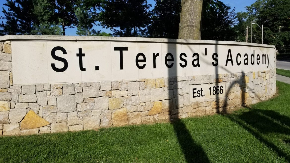 sign out front of st. teresa's
