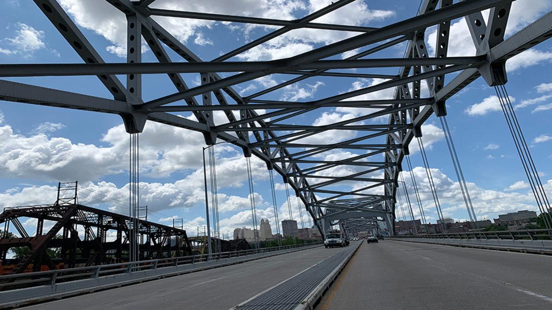 view of buck o'neil bridge heading south