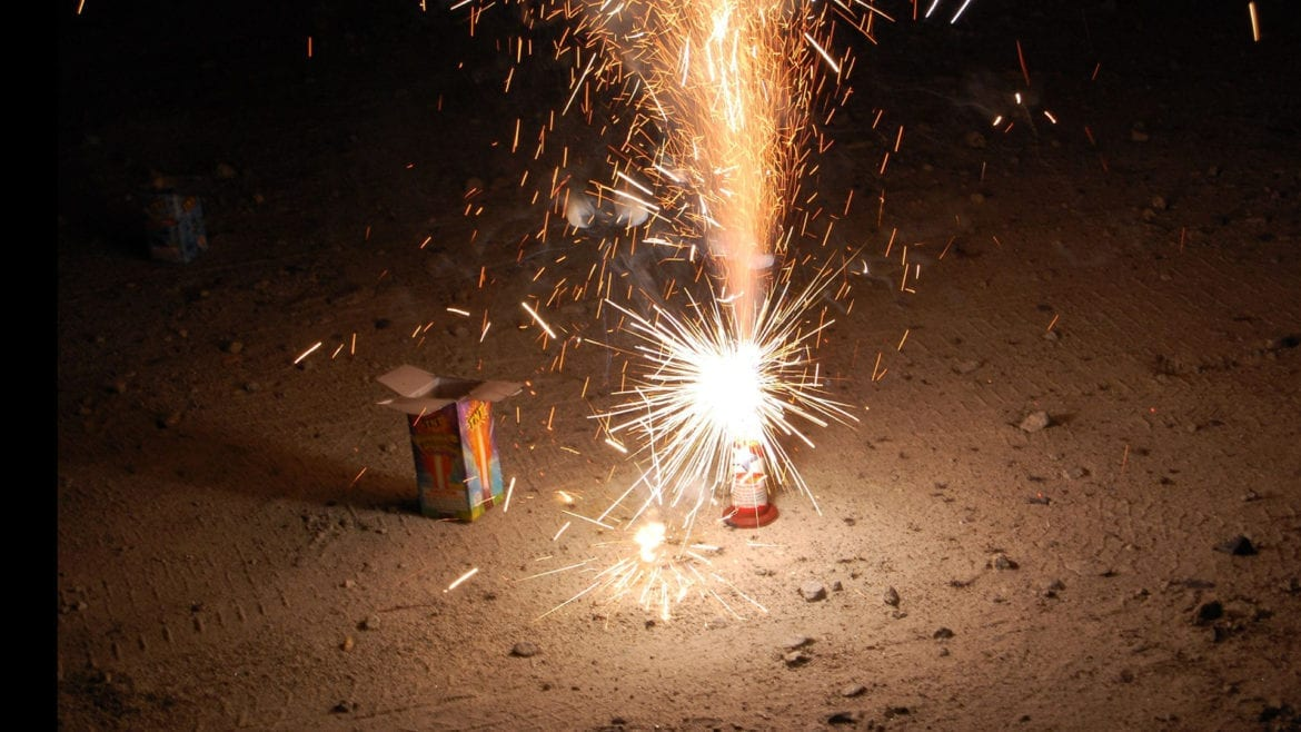 firework giving off sparks