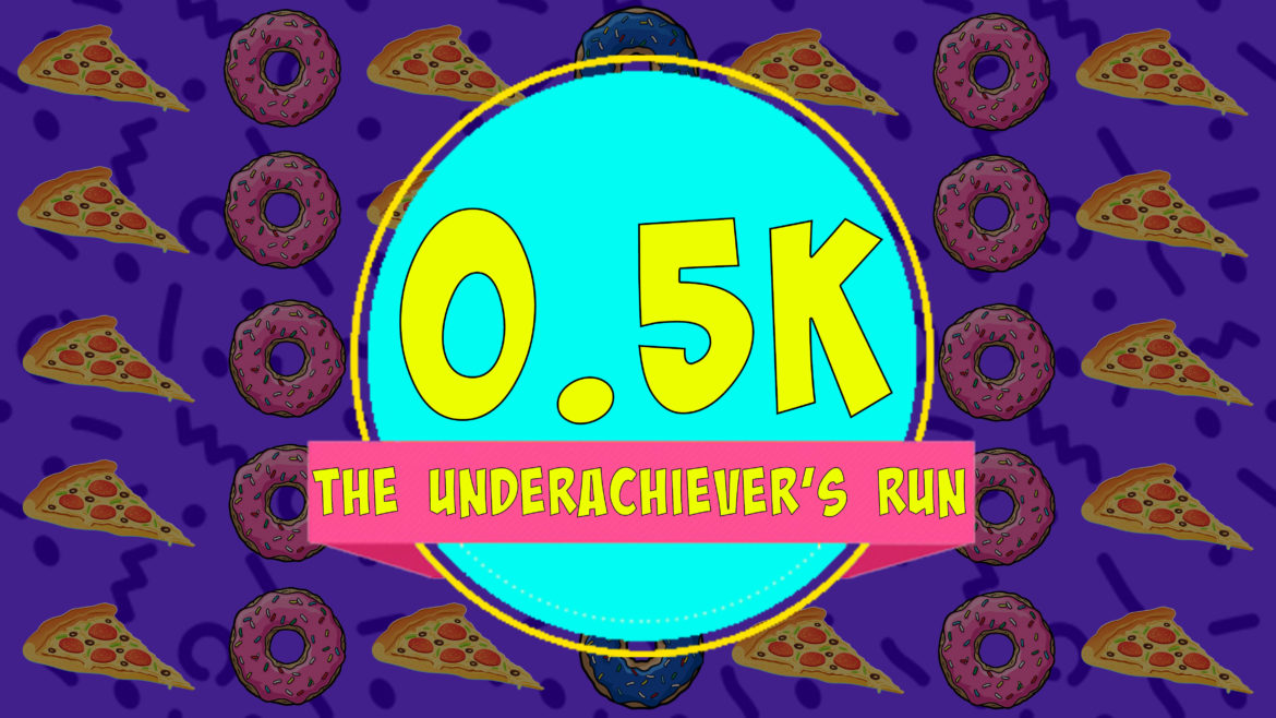 The Underachiever's Run Logo showing pizza and donuts
