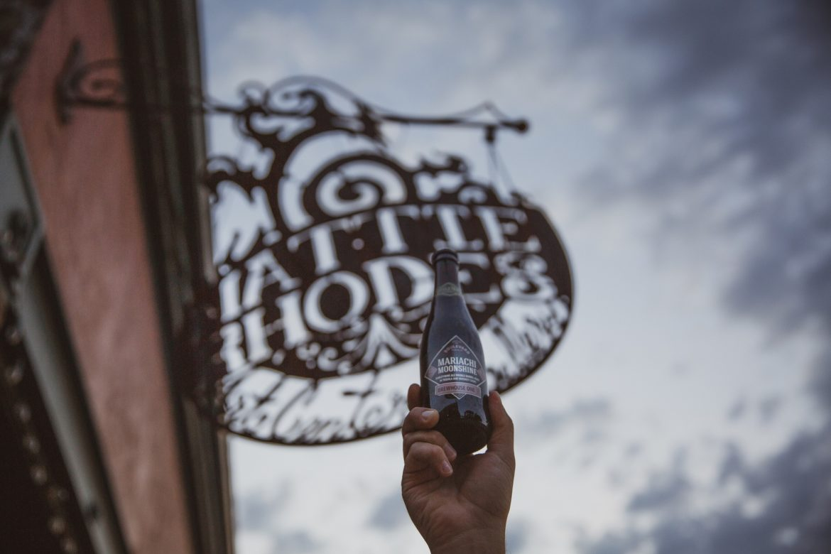 Mariachi Moonshine beer bottle with Mattie Rhodes store sign