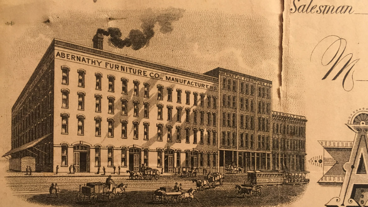 an old image of the abernathy warehouse featured on a recipt