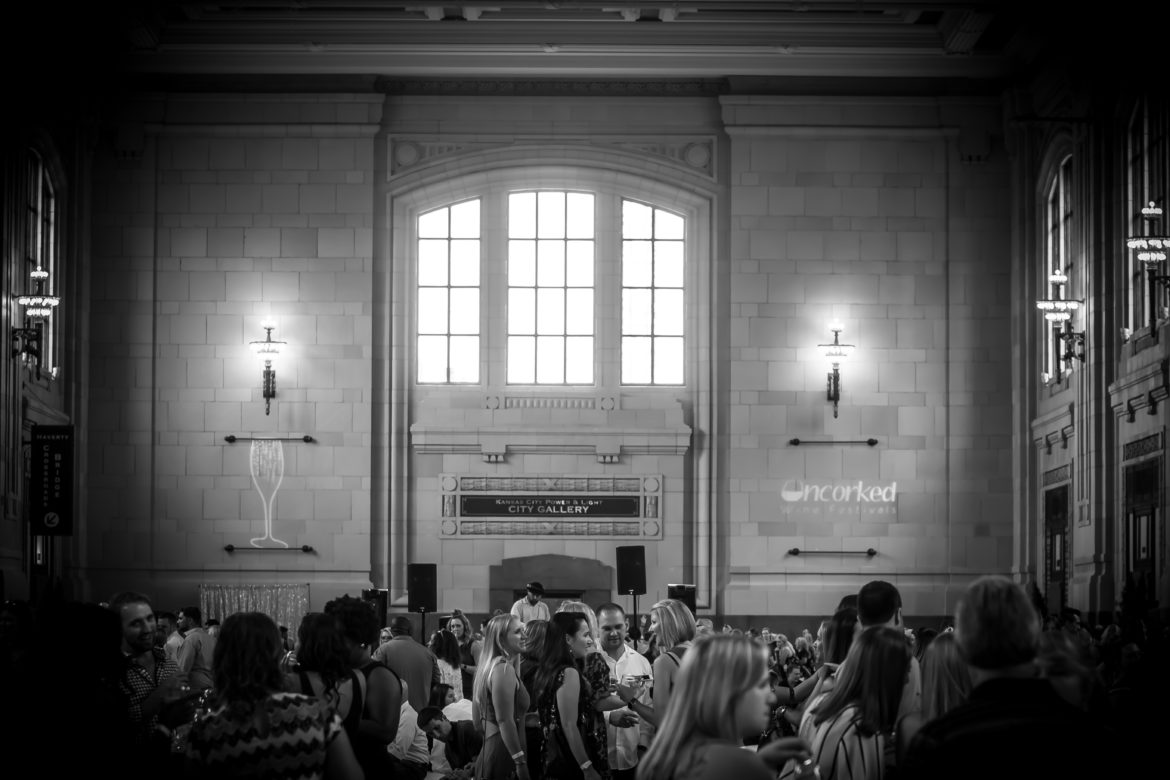 Kansas Citians mingle and taste wines in Union Station.
