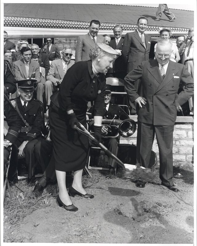 Bess Truman digging at the Truman Library groundbreaking ceremony May 8, 1955.