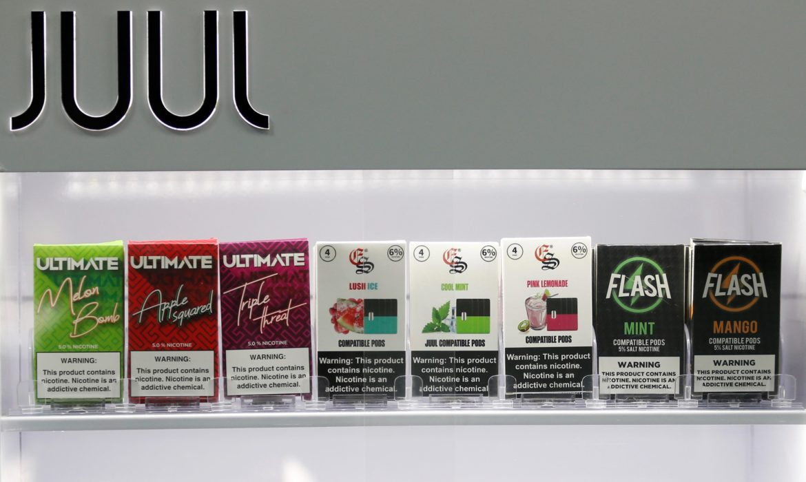 Picture of flavored JUUL e-cigarette products.