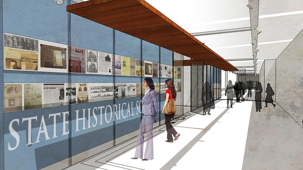 rendering of corridor gallery in new kansas city research center