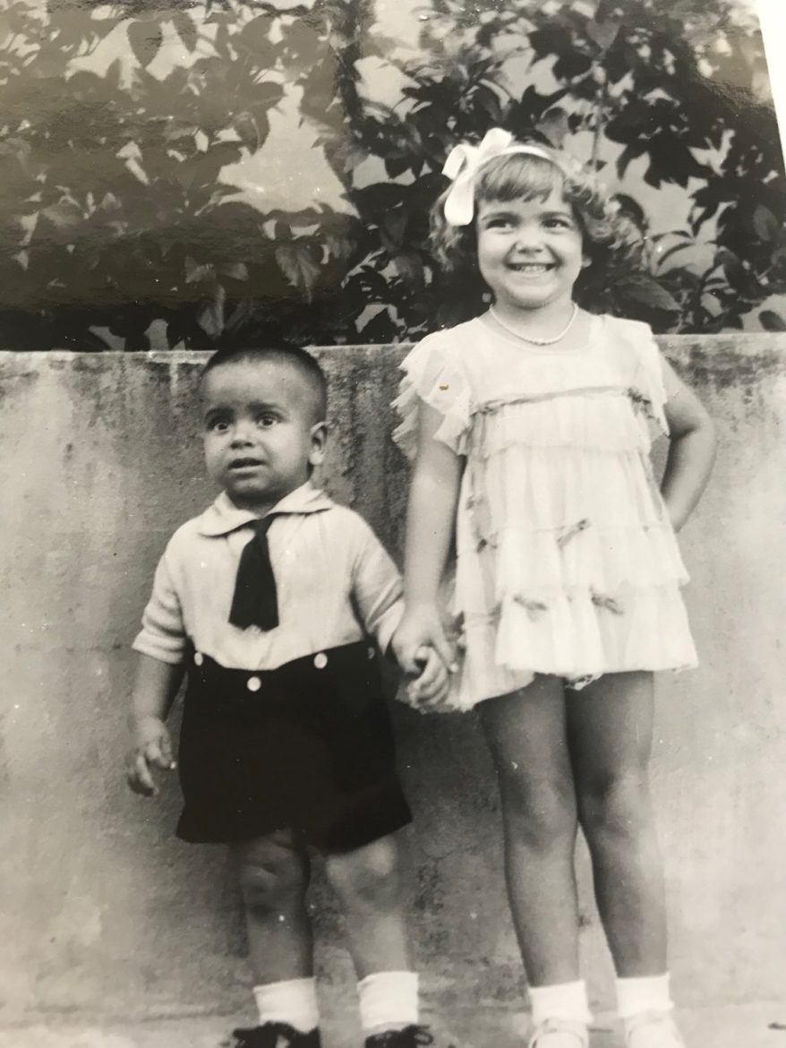 A photo of a young boy and his sister in Puerto Rico in the 1930s.