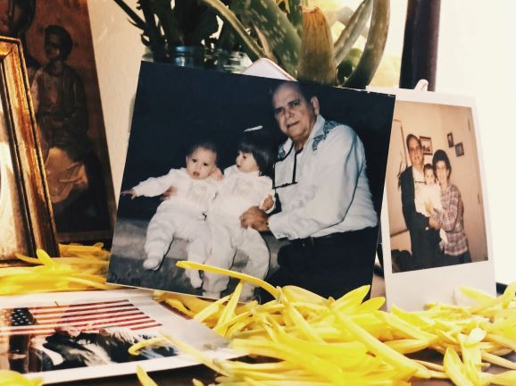 Family photos show Fernando Diaz-Ball, Vicky Diaz-Camacho's grandfather, with her and her sister as children.