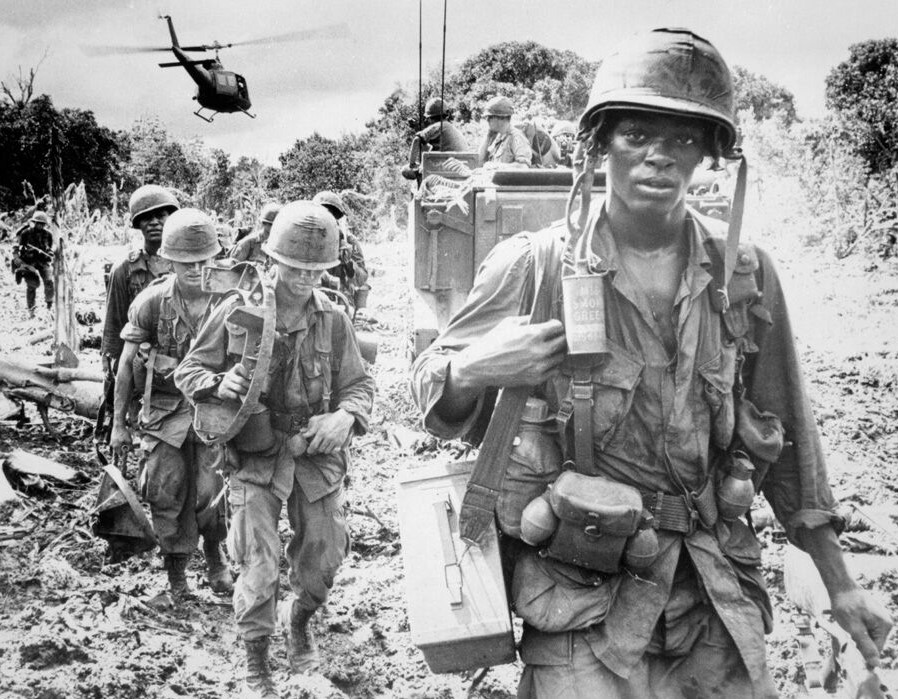 Soldiers heading out on a search and destroy mission during the Vietnam War.