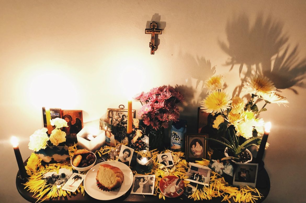 Here's Vicky Diaz-Camacho's altar for Dia de los Muertos, or Day of the Dead, honoring her grandparents and husband's grandmas.