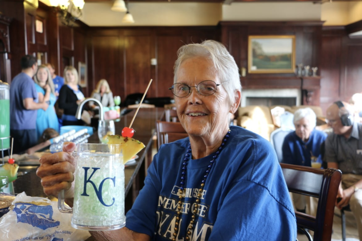 Mary Lou Kennedy enjoys a drink during a 2015 watch party.
