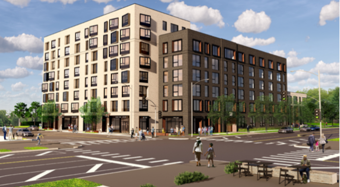 This eight-story building is proposed for the southwest corner of Armour and Troost.