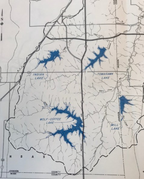 map showing proposed lakes in Johnson County, KS