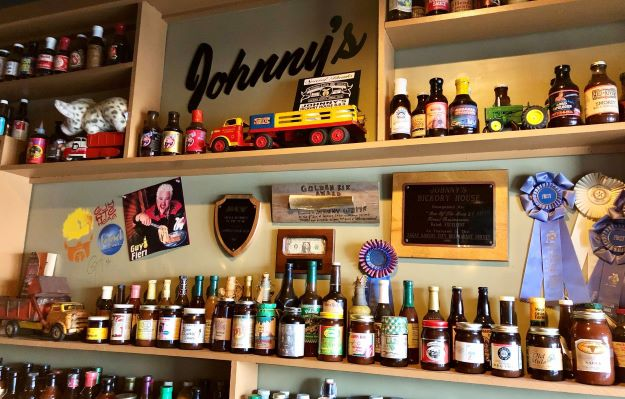 Part of the sauce collection at Johnny's.