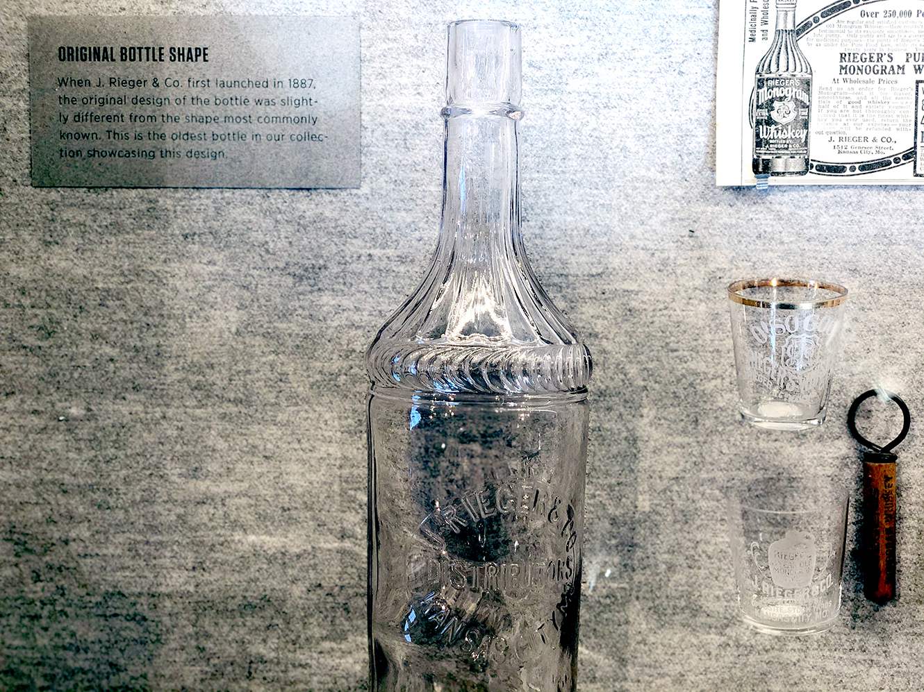 Original bottle for J. Rieger's whiskey in the 1900s
