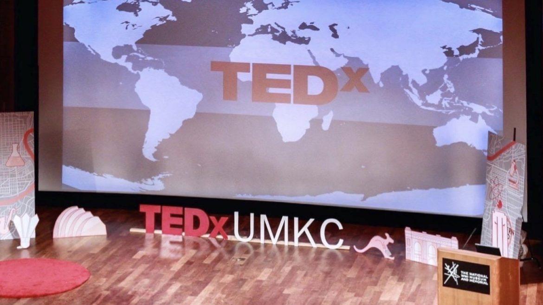The TEDxUMKC empty stage.