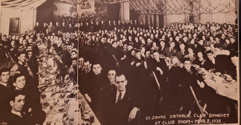 Club members sit at long tables in 1935.