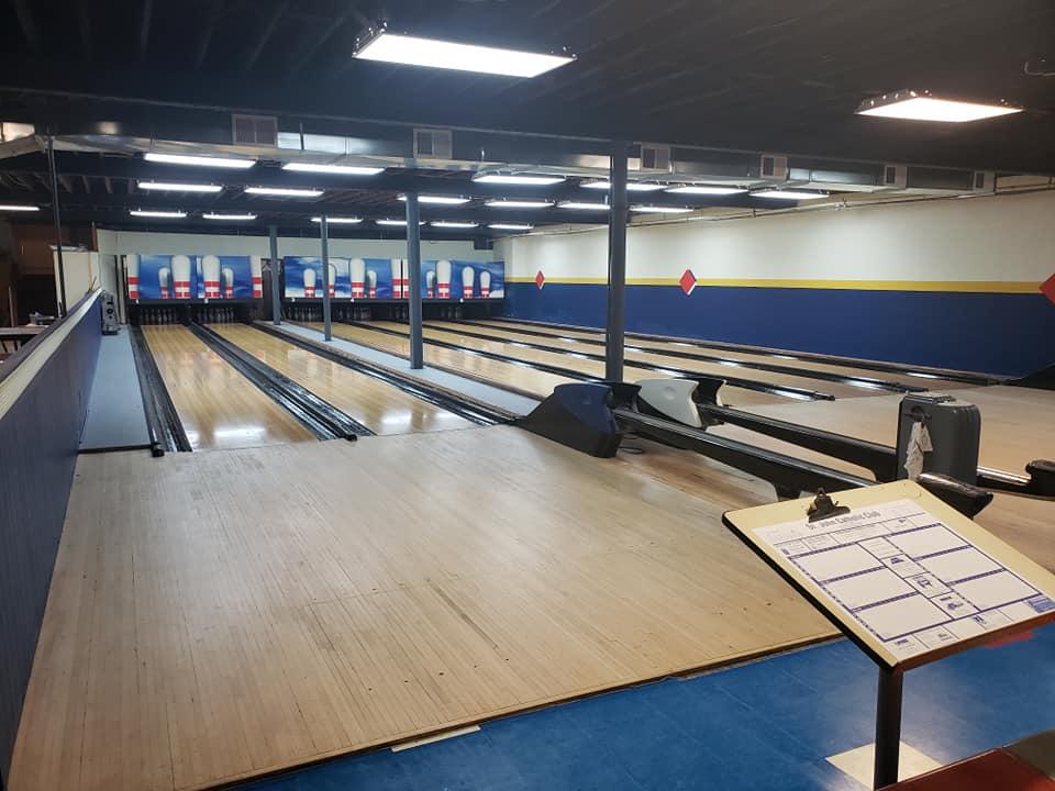 The Club's six bowling lanes.