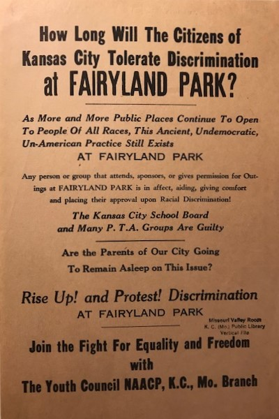 Civil rights activists created this flyer to protest public access policies at Fairyland Park.