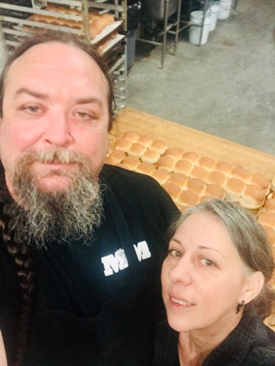 Jim and Andrea Martin stand in their bakery, M&M Bakery, in Lawrence, Kansas