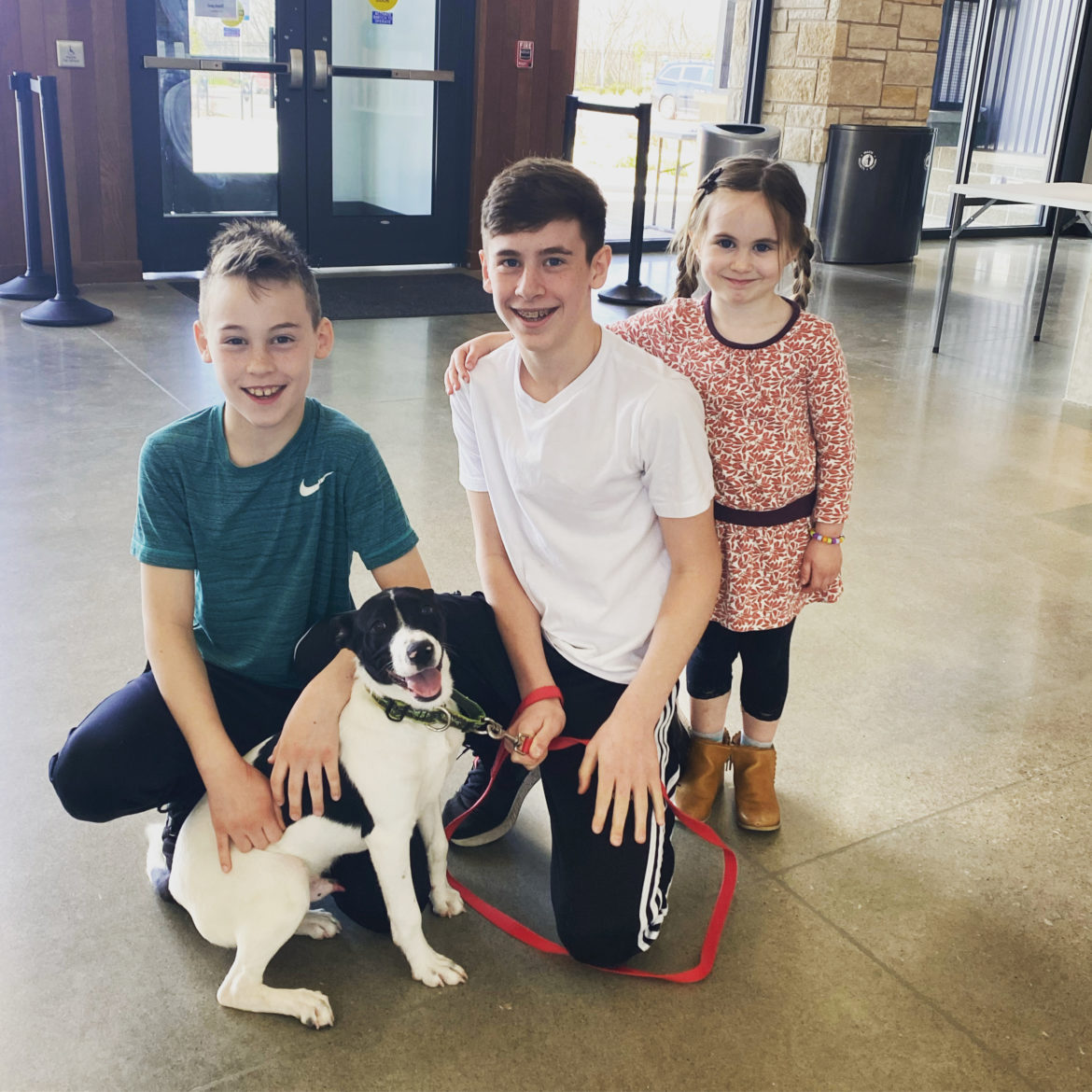 Three children pose with a newly adopted dog.
