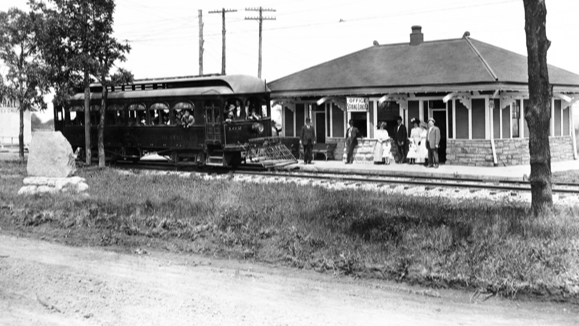 From this small depot in what is now Overland Park, railroad entrepreneur William Strang, Jr. operated the interurban line which carried curious Kansas City residents out to Johnson County, Kansas.