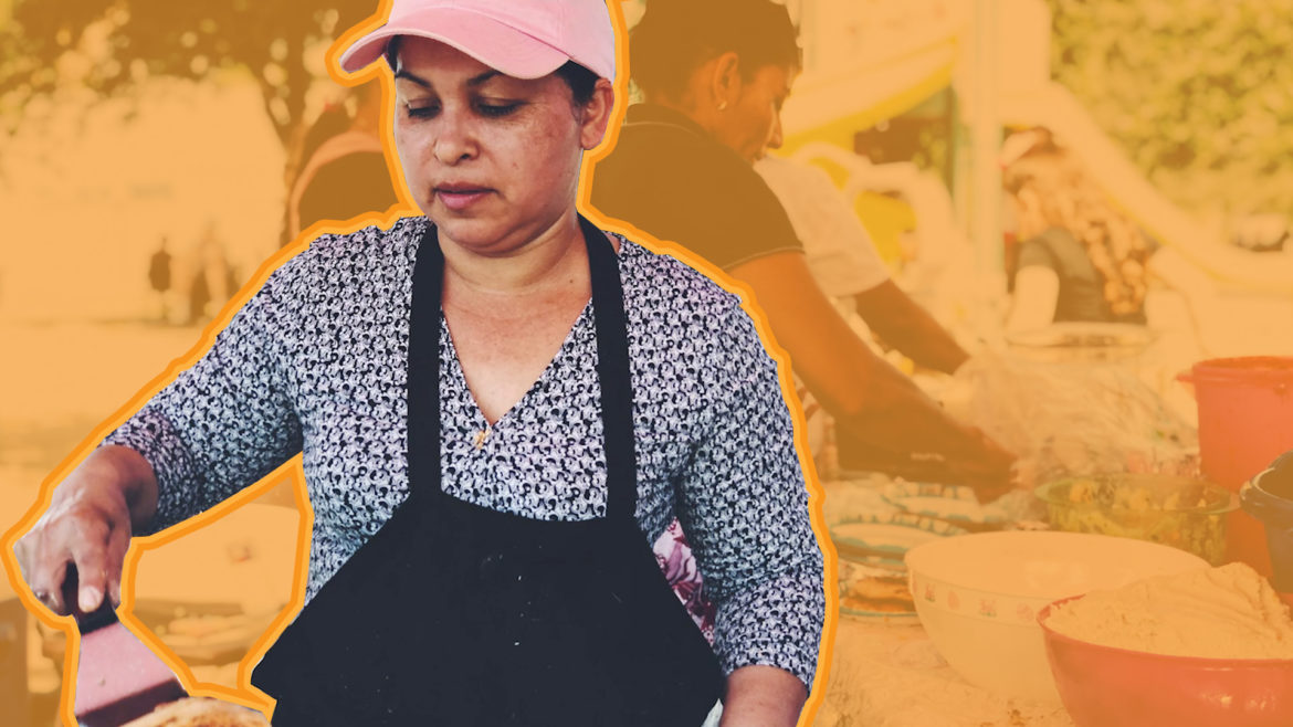 Woman making food at Latino Arts Festival