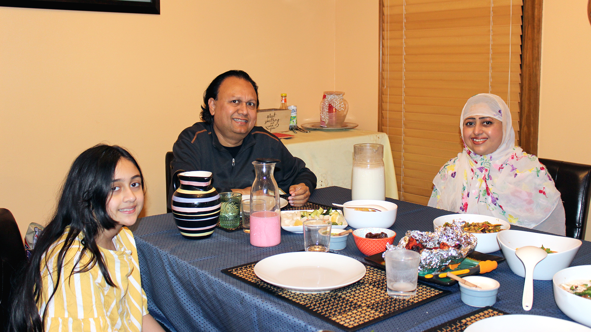 Haider family during iftar
