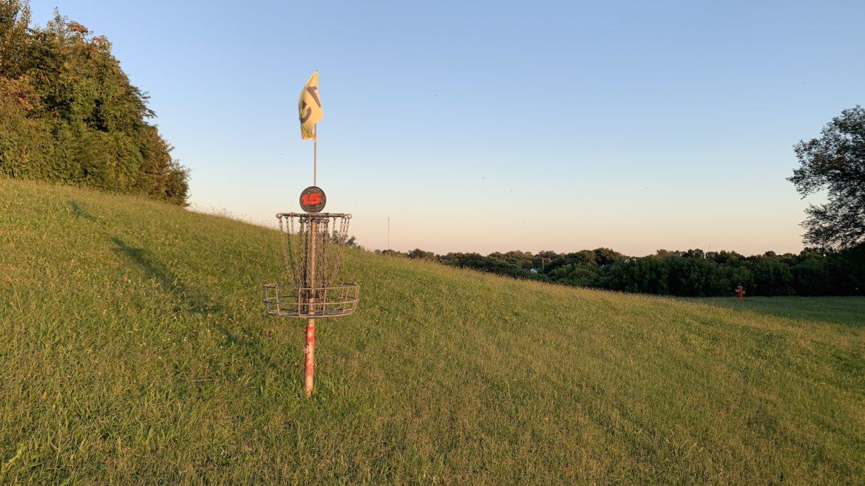 A disc golf basket in Kessler Park on Cliff Drive.