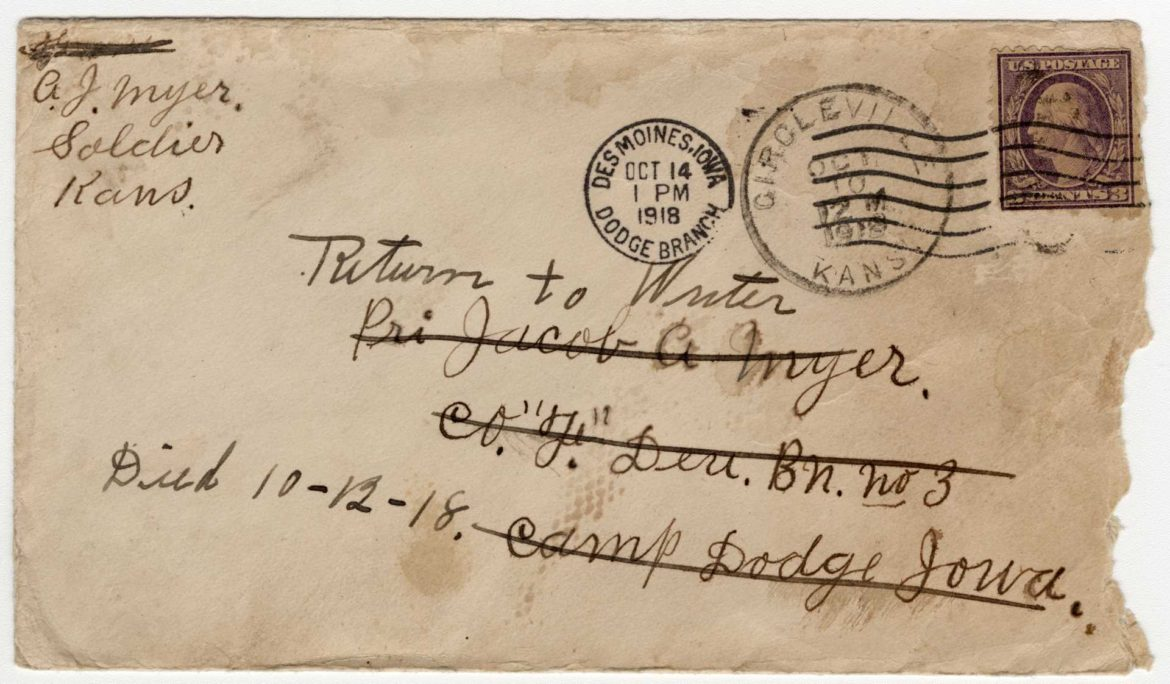 Envelope revealing that Private Jacob Myer had died.