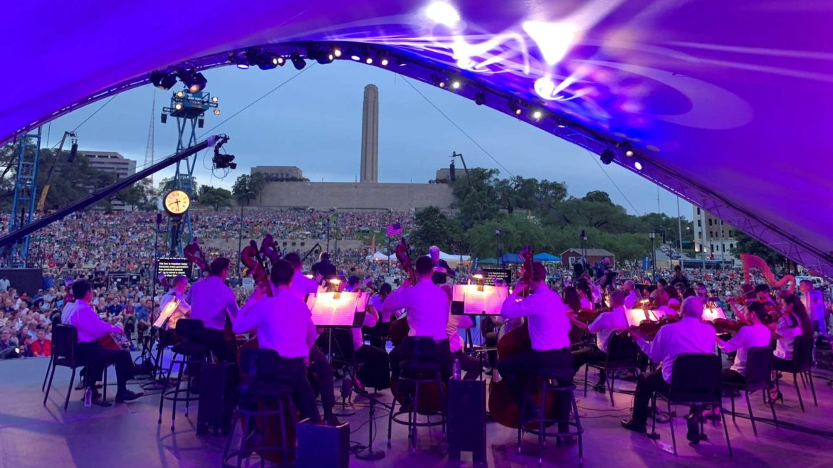 "The Kansas City Symphony performing at the ""Celebration at the Station."""