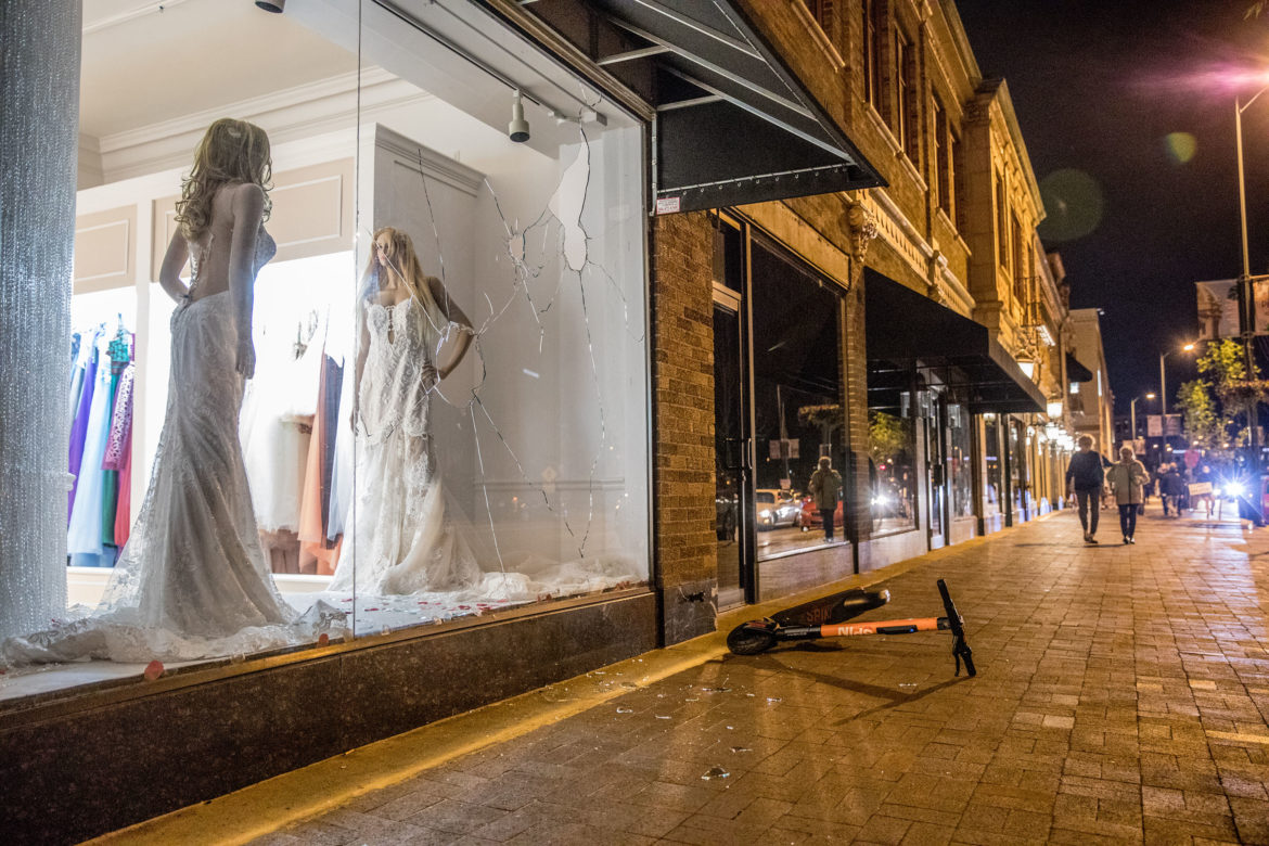A Country Club Plaza storefront was smashed during protests following the death of George Floyd.