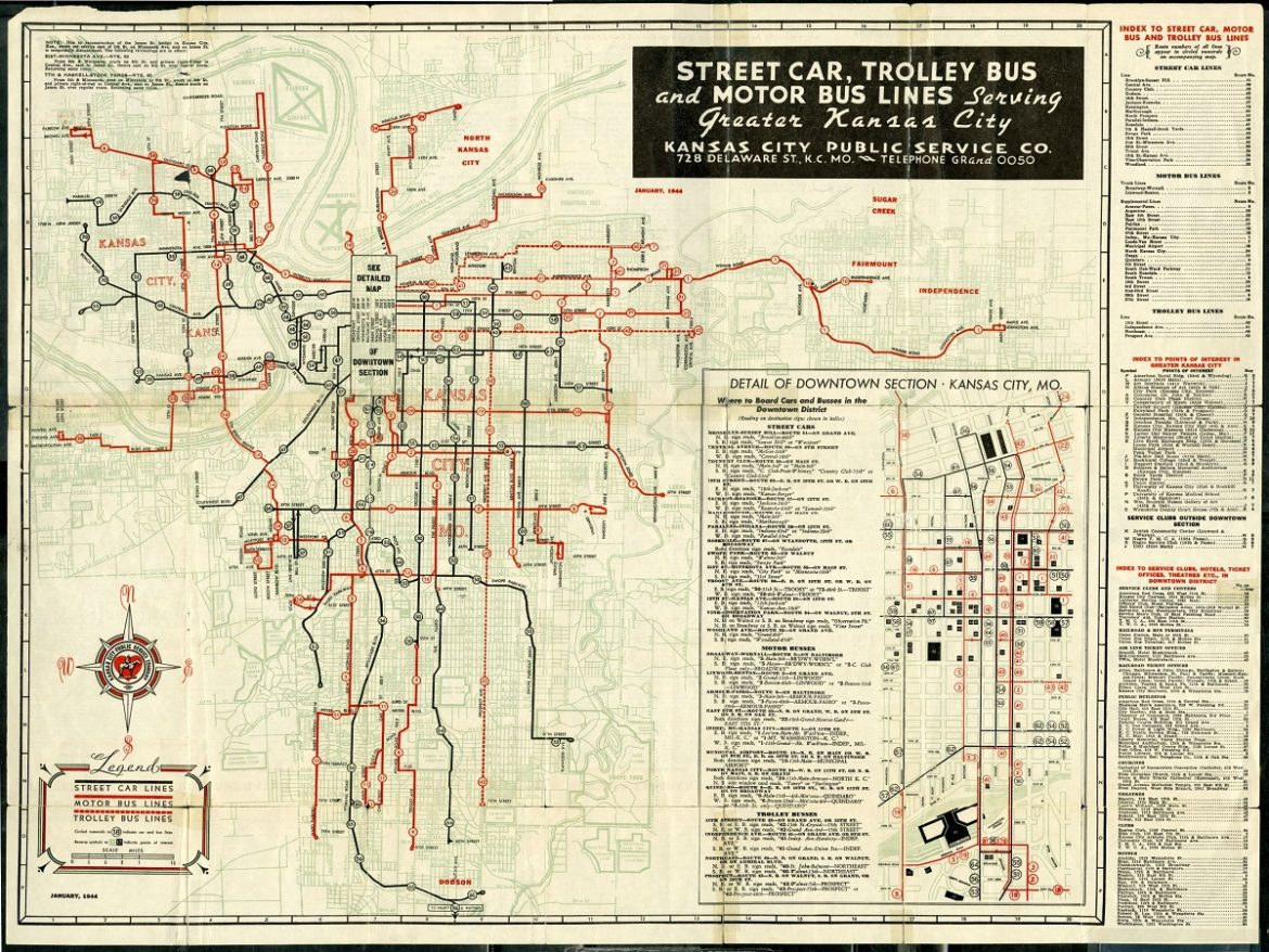 Kansas City transportation map from 1944 with street car, trolley and bus lines