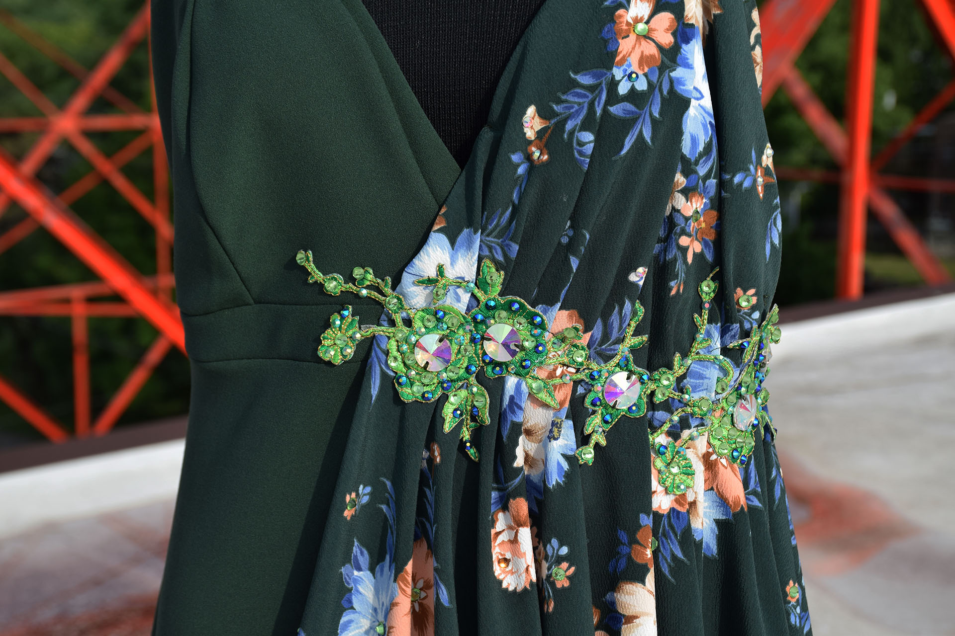Green dress detail